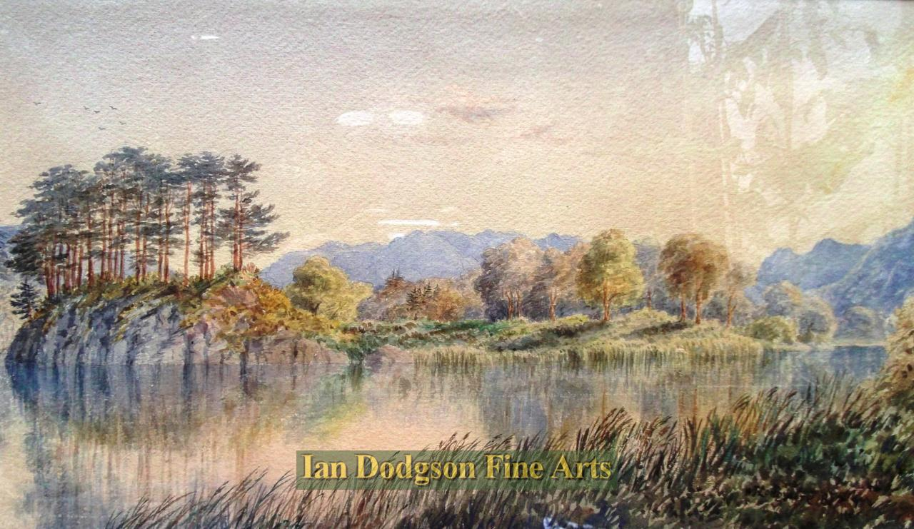 Painting by artist William Taylor Longmire - Sunset, Head of Windermere (Watercolour)