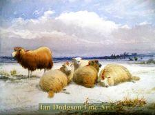 Sheep resting after the snowstorm by Thomas Sidney Cooper