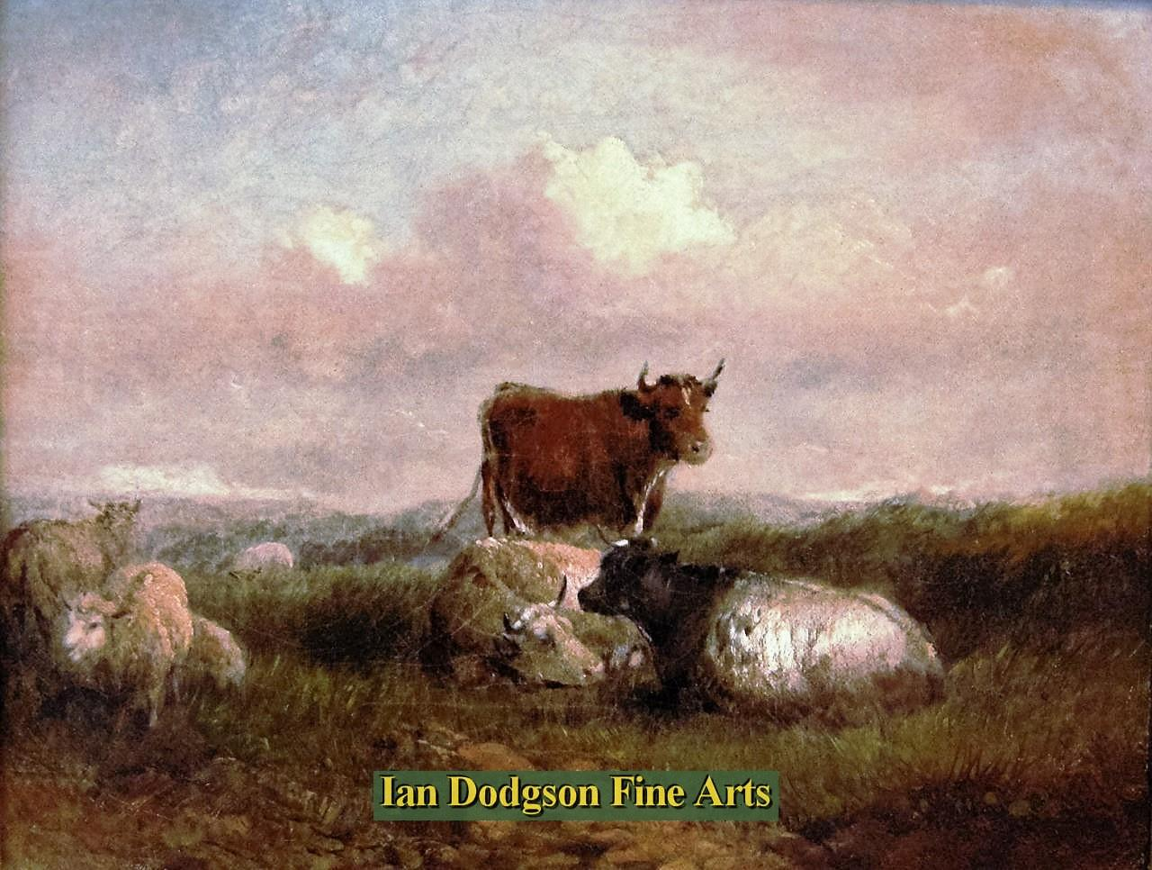 Painting by artist Att; Claude Cardon - Cattle and Sheep resting (Oil on canvas)