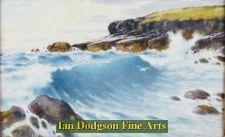 Rock cliff with crashing waves. Moelfre by Warren Williams
