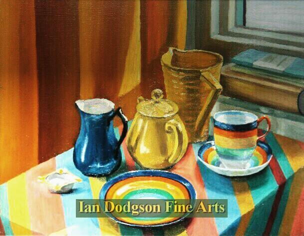 Painting by artist Meryl Watts BC, RA. - Still Life with crockery (Oil on canvas)