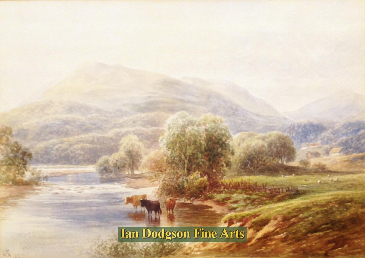 Cattle in the river, North Wales. by George Alexander
