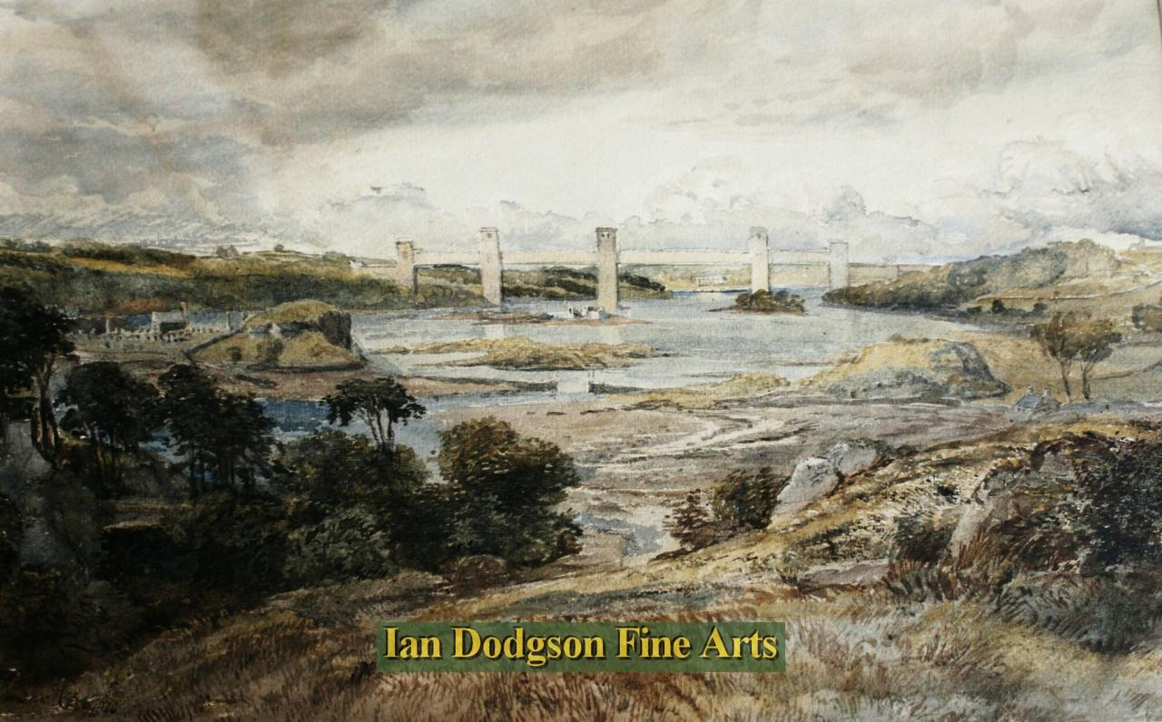 Britannia Bridge, Menai Straits,Wales by David Cox Jnr