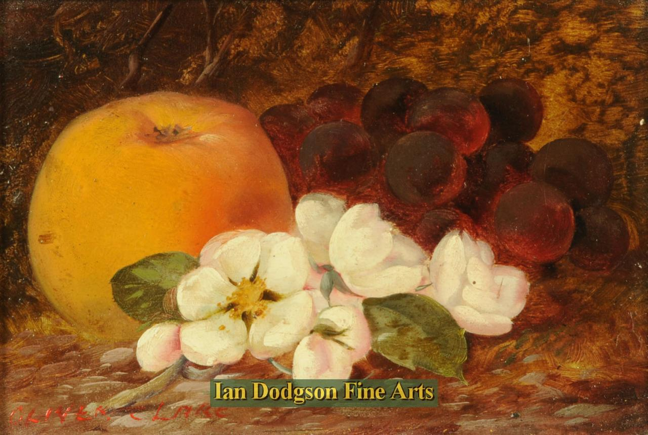 Oliver Clare - Fruits and Apple Blossom Oil on board (c1920)