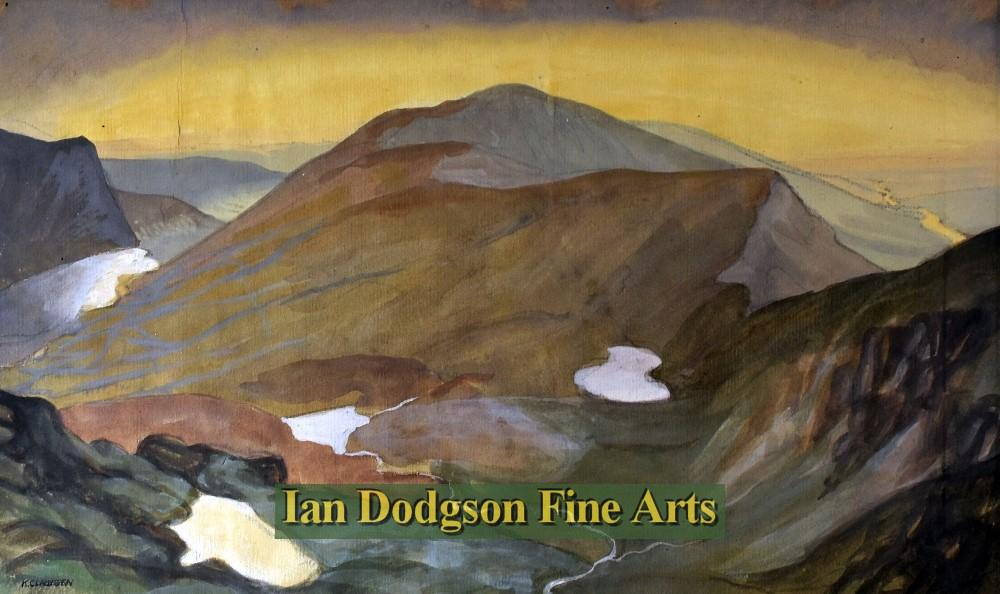 Painting by artist Katherine (Kitty) Clausen - Moel Eilio & Cwm Clogwyn, Snowdon (Watercolour)