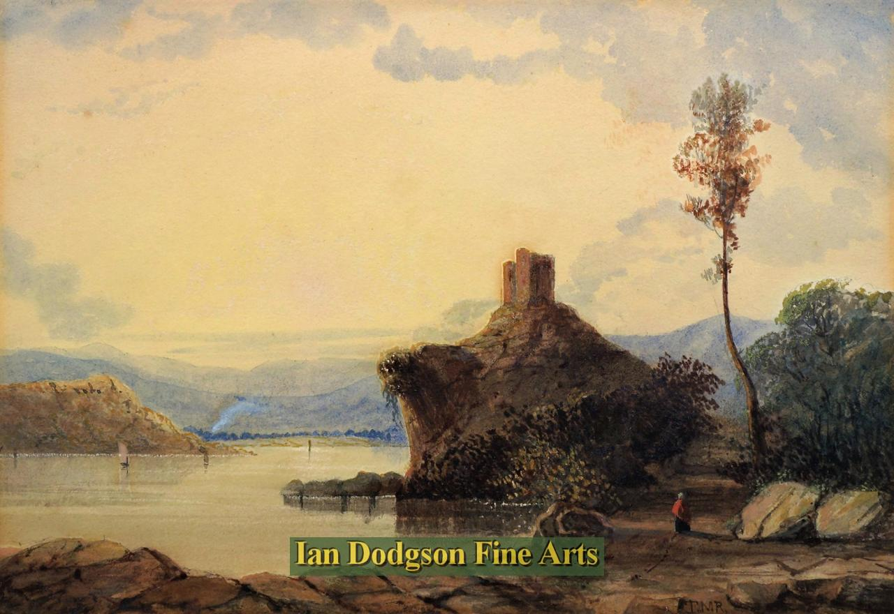 Painting by artist Thomas Miles Richardson jnr - Llyn Padarn, Dolbadarn Castle (Watercolour)