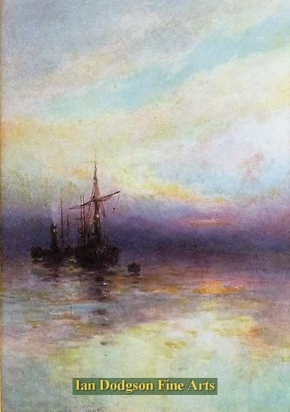 Painting by artist Edmund Phipps - Steam and Sail in the setting Sun (Watercolour)