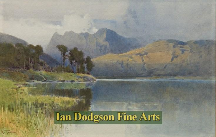 Painting by artist Arthur Tucker - Langdales from Blea Tarn (Watercolour)