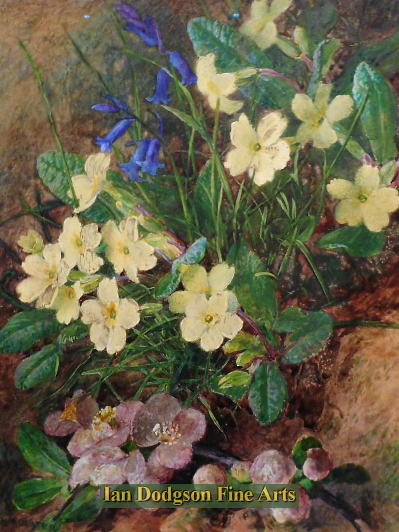 Painting by artist Charles Henry Slater - Primroses, Bluebells and Blossom (Watercolour with bodycolour)