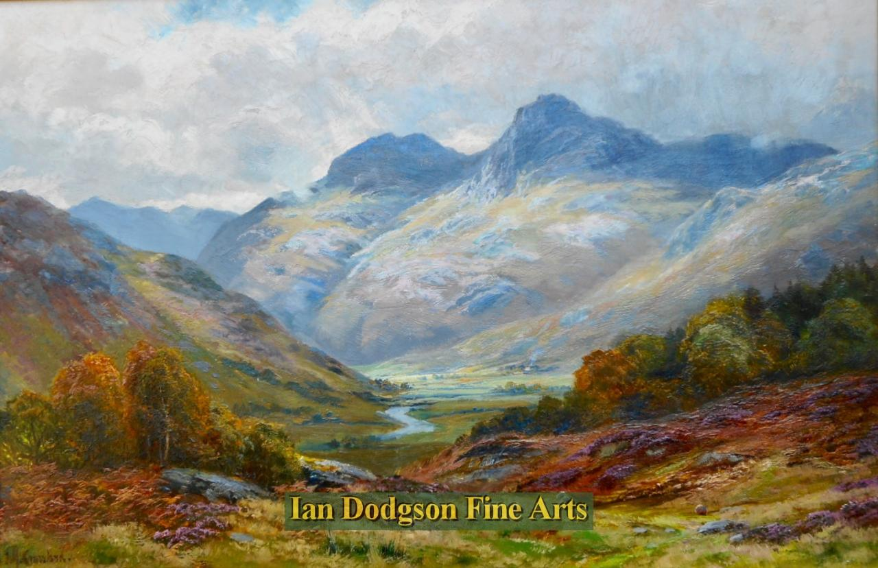 Painting by artist James Henry Crossland R.A. R.C.A. - The Langdale Pikes (Oil on canvas)