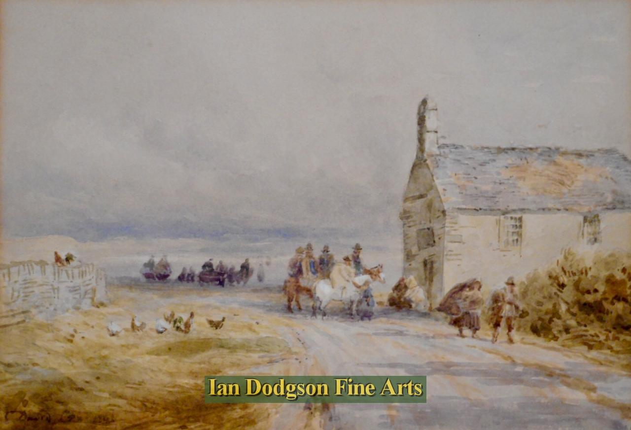 Painting by artist David Cox Snr O.W.S. - Horsemen at roadside cottage (Watercolour)